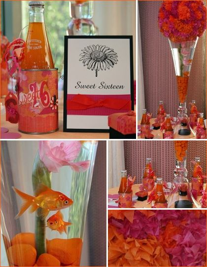 ok so this was a sweet 16 party - but it still gives fun orange ideas!