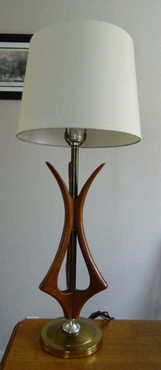 Eames Era Vintage Mid Century Atomic Walnut Lamp Via Etsy