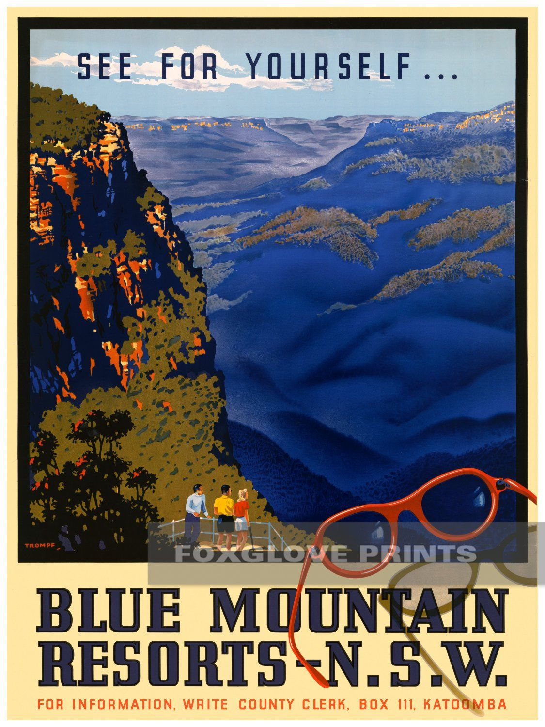 Blue Mountains Resorts Poster Print New South Wales Travel