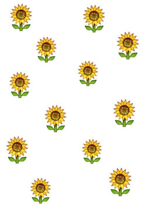 Emoji Sunflower Flower Floral Wallpaper Background