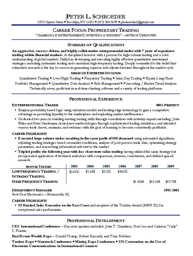 Proprietary Trading Resume Examplecareer Resume Template Career Resume Template Resume Objective Sample Retail Resume Sales Resume
