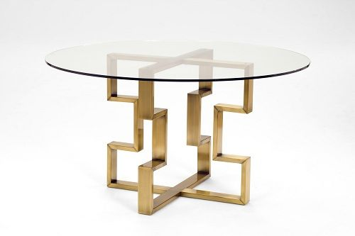 Margaux Dining Table 54 Round Satin Gold Base With Glass Top