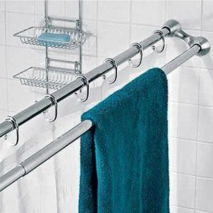 Barre de douche double extensible en inox salle de bain - Barre de douche extensible ...