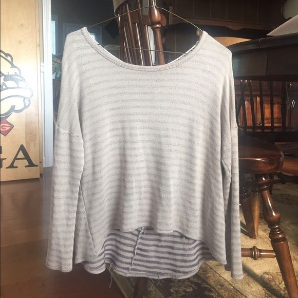 striped Altar'd state shirt super soft and comfy! stripes are very cute and the crochet detailing on the back adds to the casual look of the sweater! one of my favorites! also in very good condition! Altar'd State Tops