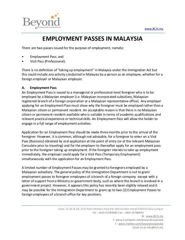 Bch Employment Passes Malaysiathere Are Two Issued Job Offer