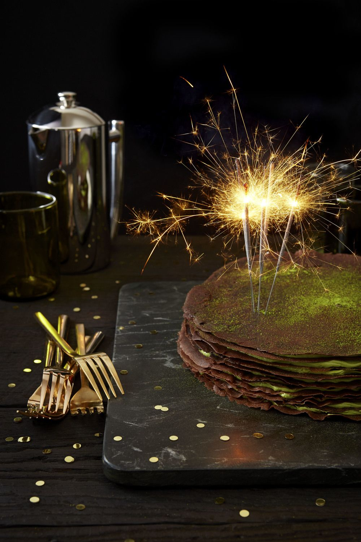 Chocolate Crepe Cake with Matcha Buttercream (photographer - Sherry Heck)