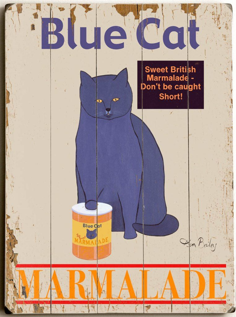 Blue Cat Marmalade Custom Sign Custom Vintage Signs