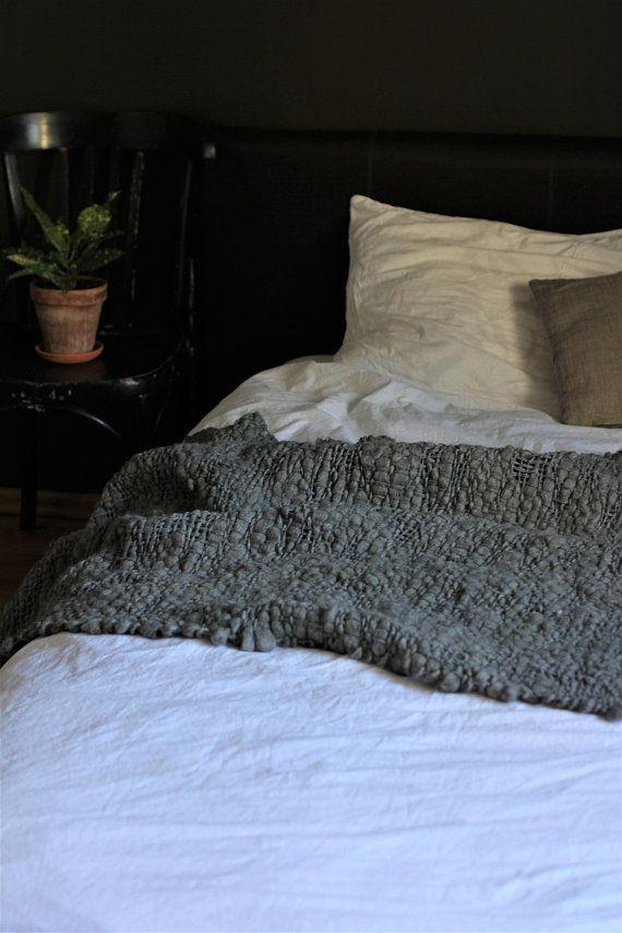 Natural wool blanket grey wool throw blanket