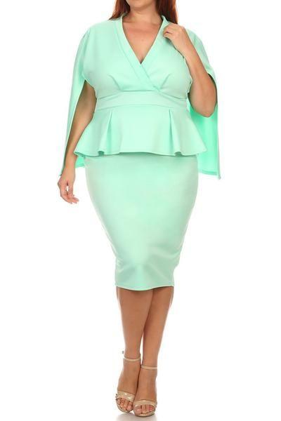 aeab4928dba4 V-Neck Front Cape Peplum Plus Size Dress | plussizefix | Peplum ...