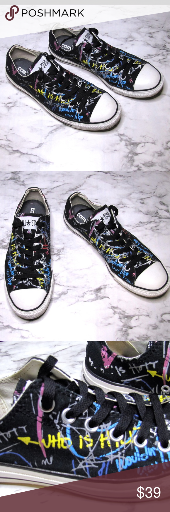 86654f89a7e Converse All Star Chucks Custom Graffiti Sneakers Converse All Star Chuck  Taylor Custom Unisex Sneakers Black