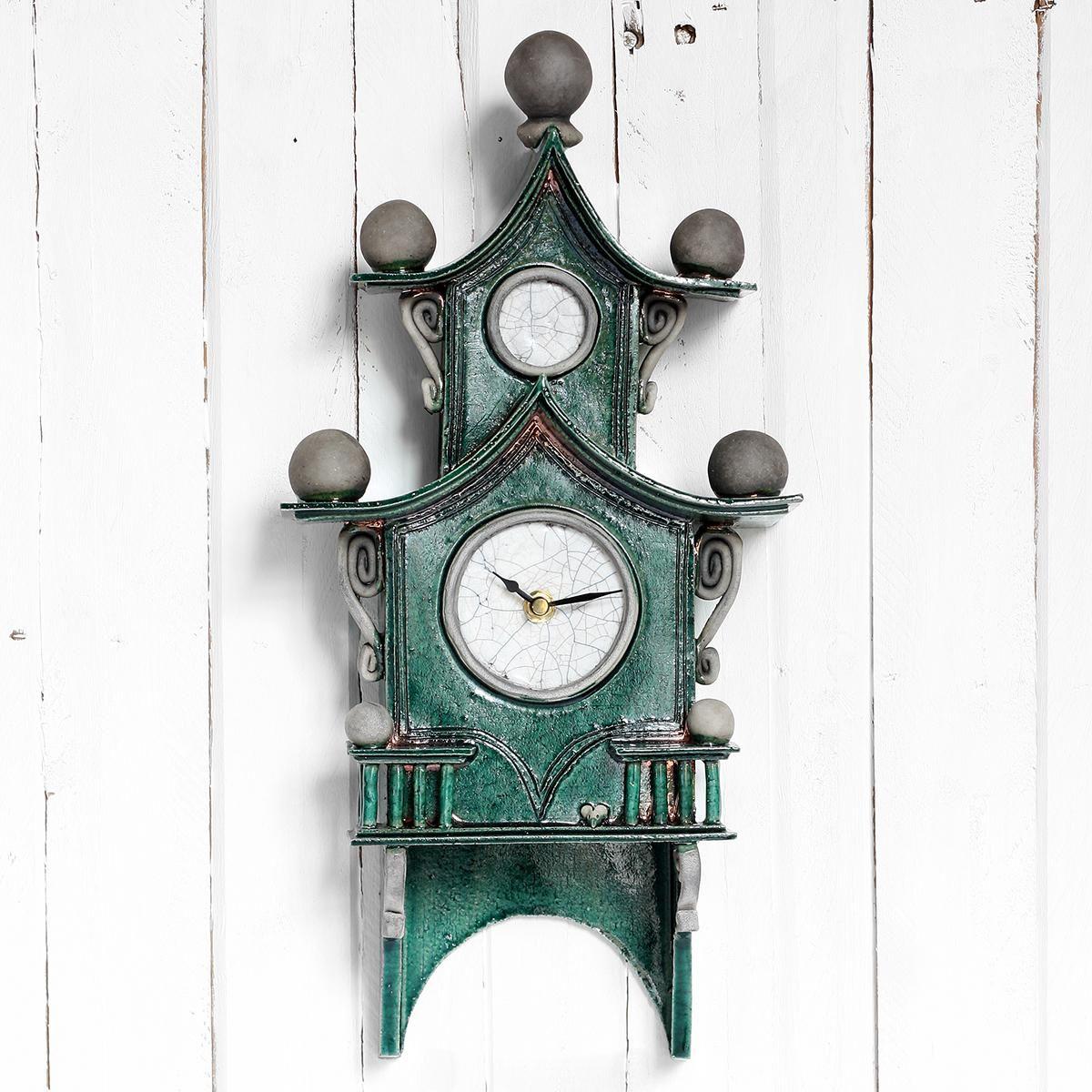 Quirky Ceramic Two Tier Pendulum Wall Clock Emerald Green By Ian