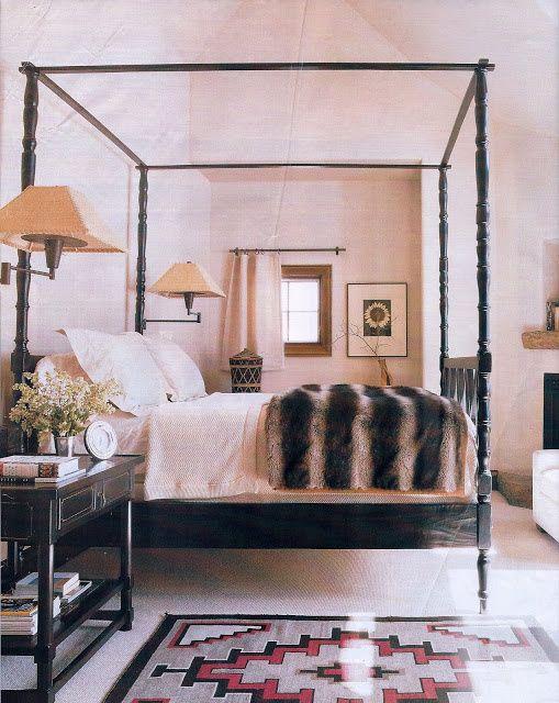 bedding/ navajo rug/ canopy bed