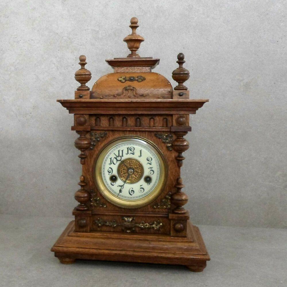 Antike Kaminuhr Pfeilkreuz Uhrwerk Im Holzgehause Mechanische