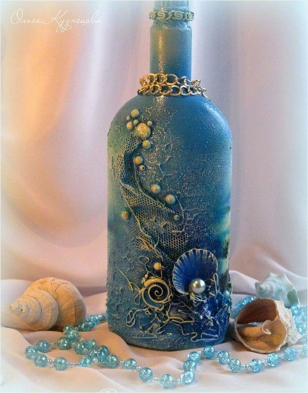 Crafts with Seashells and Bottles 27 Декупаж декор бутылок Decoupage Bottle Art