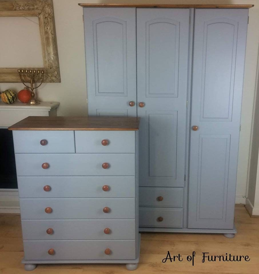 Pine Rustic Country Bedroom Furniture Set 3 Door Wardrobe Matching Chest Of Drawers Hand Painted In Grey Country Bedroom Furniture Furniture Painted Armoire