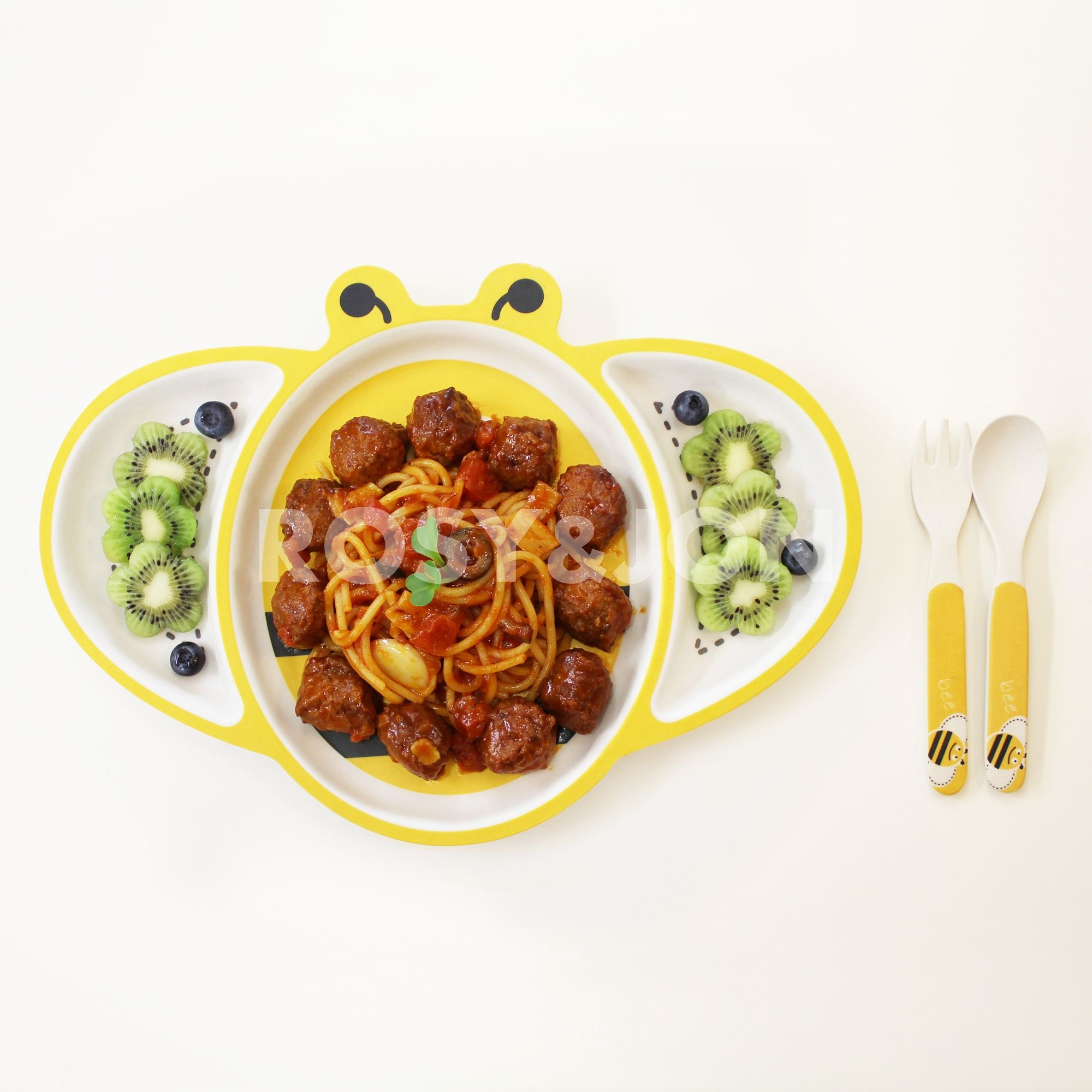 Kitchenware ROSYnJONs Animal Bamboo Plate Bee Made By Wood Fibers We Offer The Best
