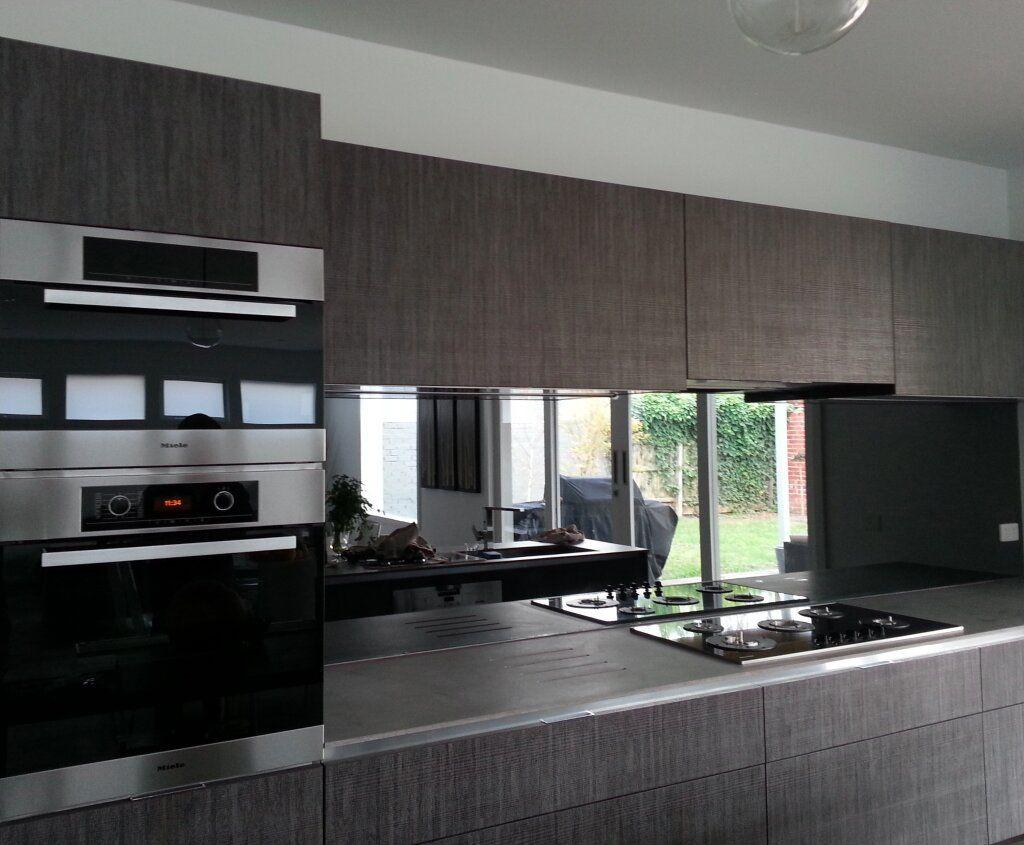 Best Grey Tint Mirror Shield Splashback Living Kitchen 640 x 480