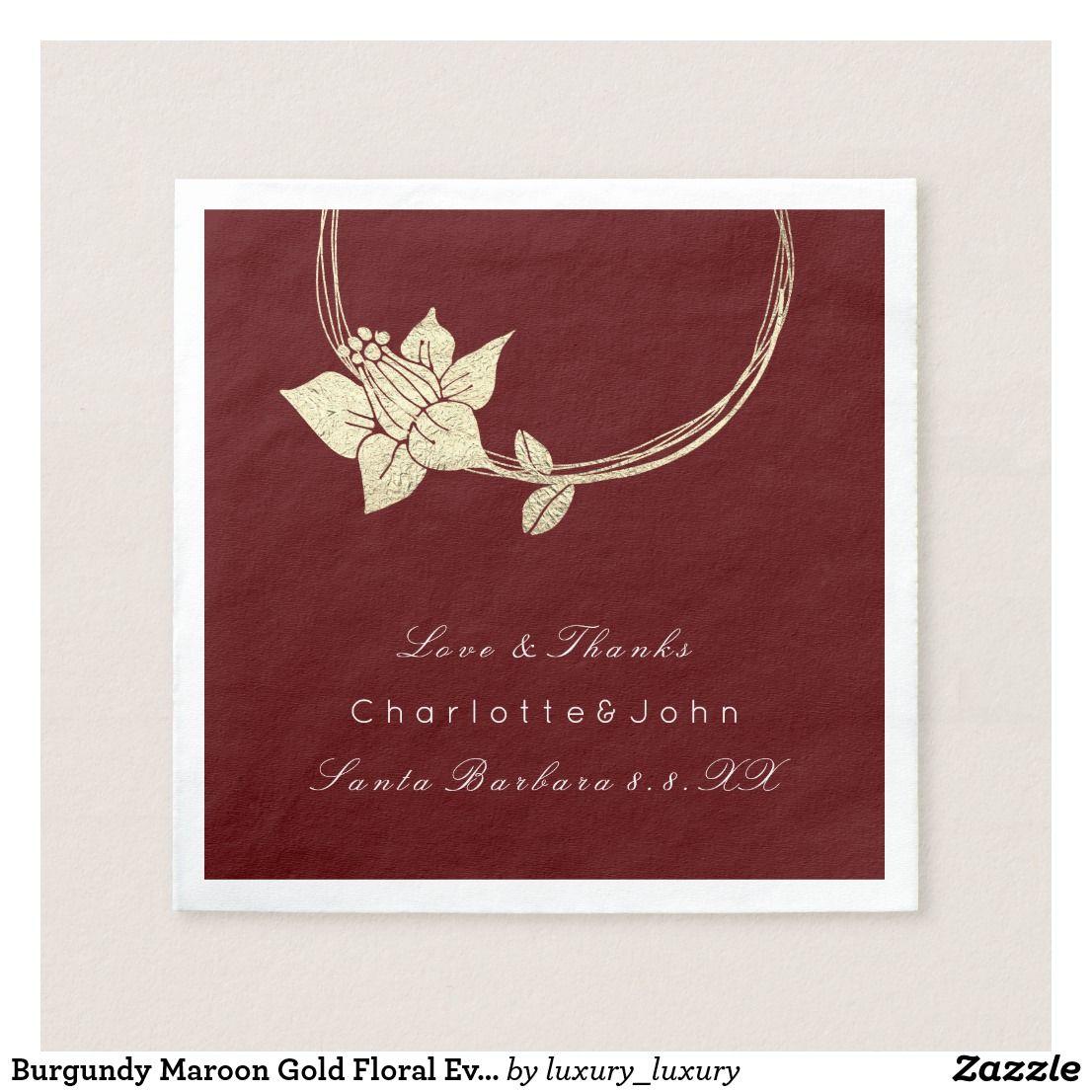 Burgundy Maroon Gold Floral Event Bridal Holidays Napkin