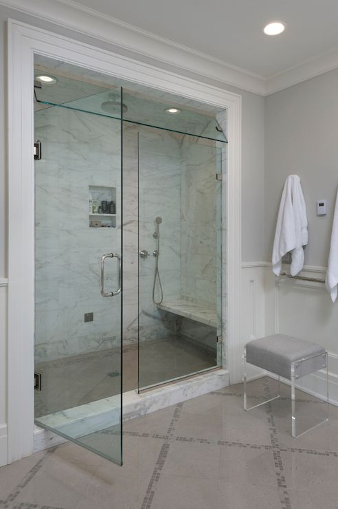 Luxurious Bathroom Features Walk In Shower Filled With