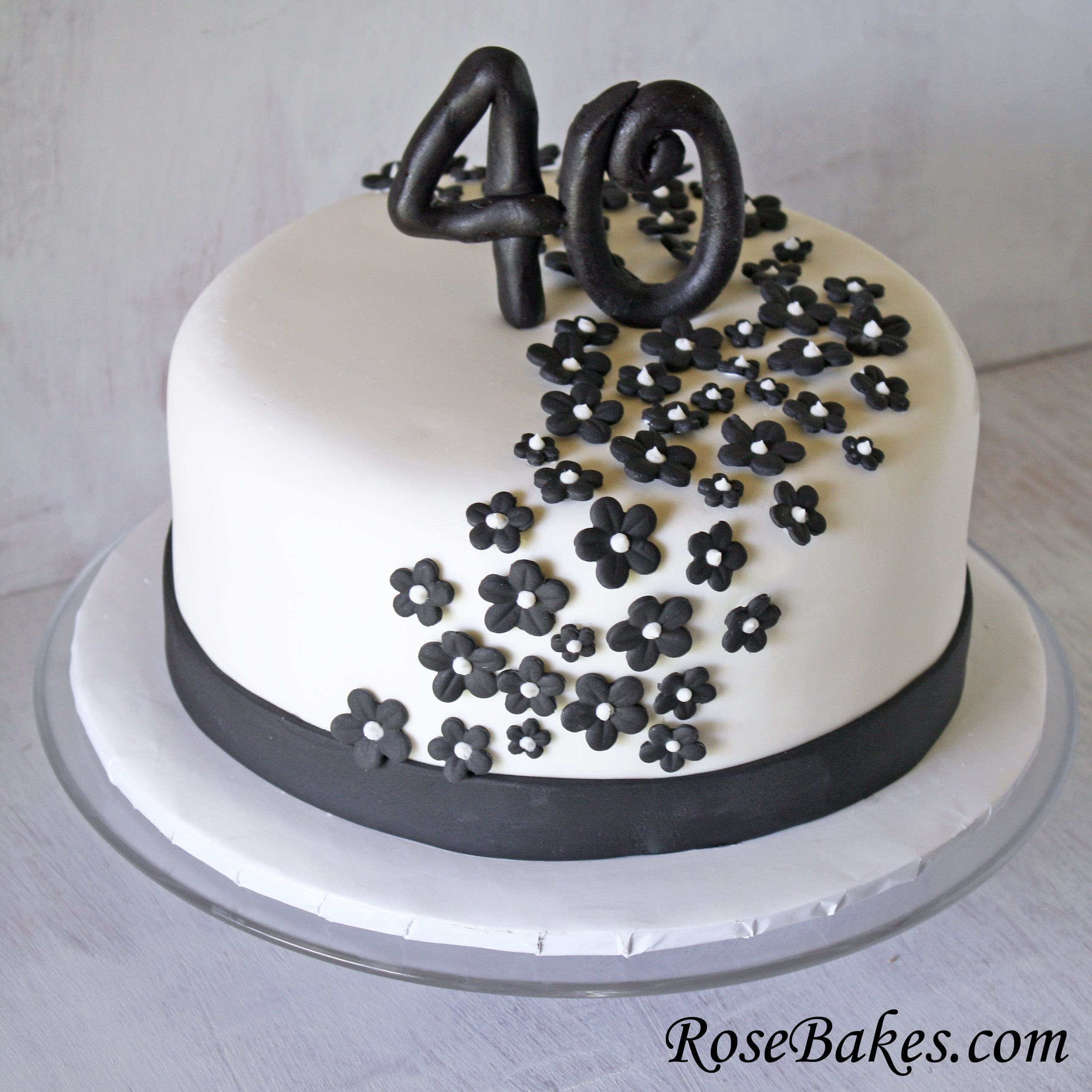 Black White 40th Birthday Cake Flower Cake and 40 birthday