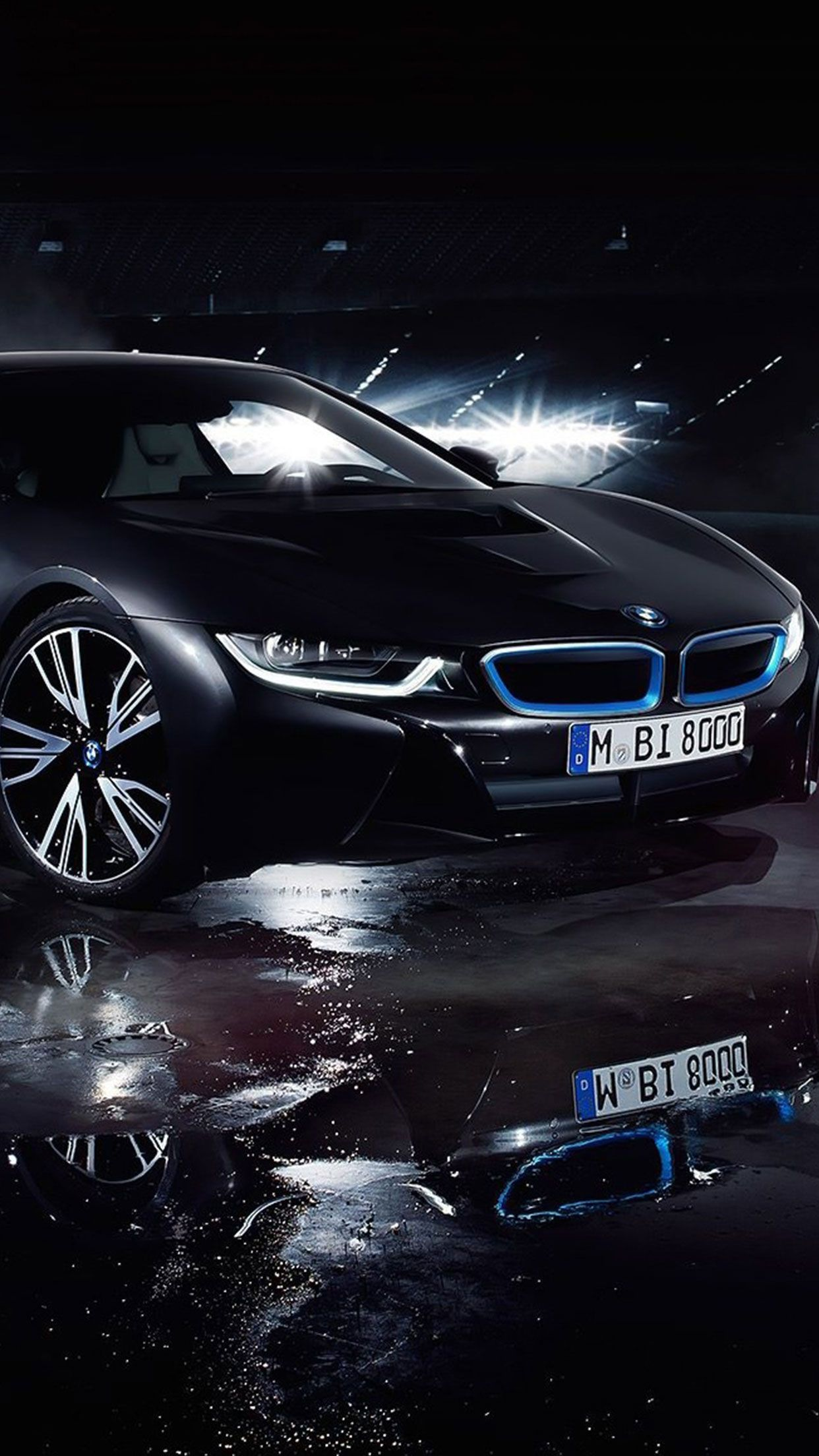 Black BMW i8 car wallpaper for Iphone and Android bmw black