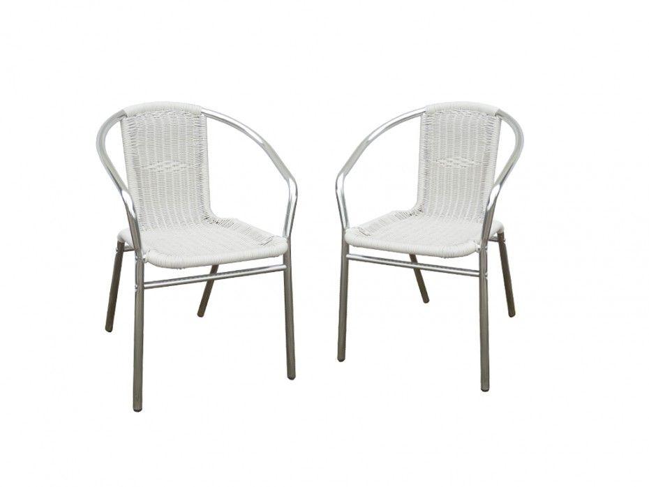 Lot De 2 Chaises De Jardin En Aluminium Et Resine Tressee Blanche Fizz Chaise De Jardin Chaise Mobilier Jardin