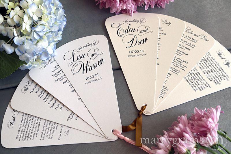 4 blade petal program fan heart style wedding ceremony programs in