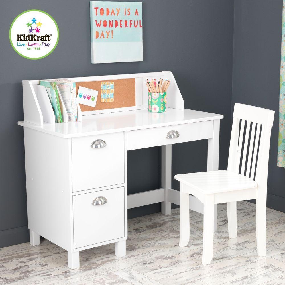 Kidkraft 26704 Kids Children S Wood Study Desk Chair W Side Drawers White New