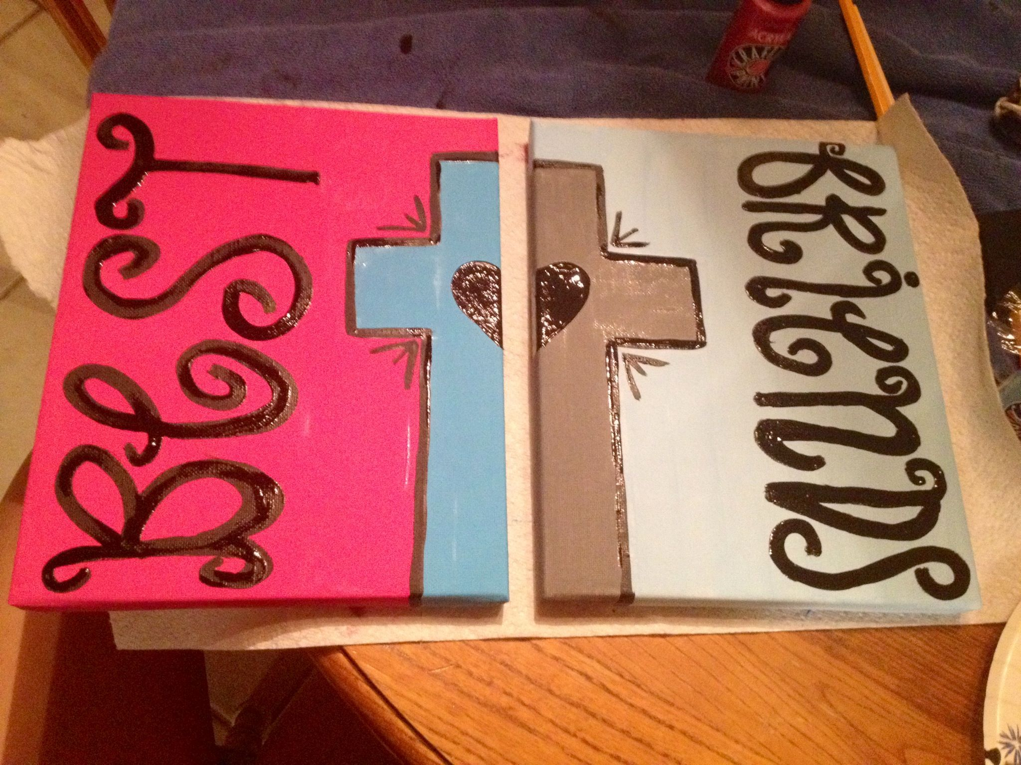 best friend craft ideas best friend painting with cross and on 2 canvases 3440