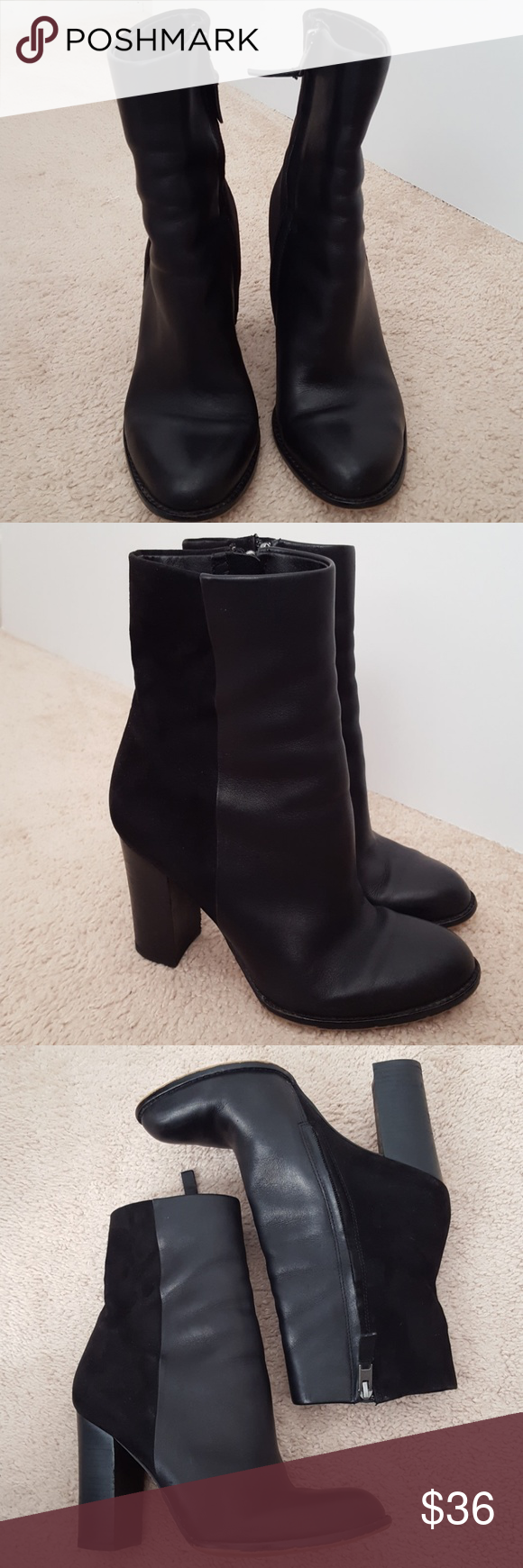 7f60aebc5 Sam Edelman Reyes leather fabric boot size 7.5 Preowned. Good condition  Leather and fabric upper Balance man-made 3 3 4