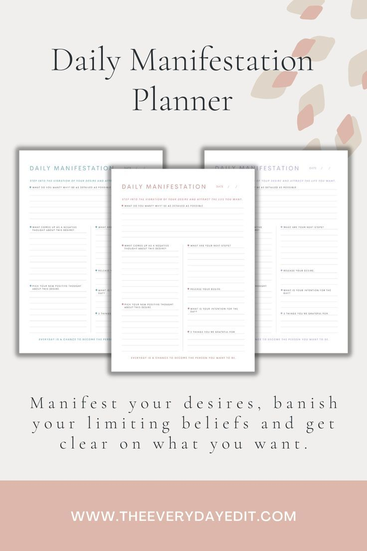 Daily Manifestation Planner Printable | Daily Planner | Manifest Your Life | Manifestation Tips