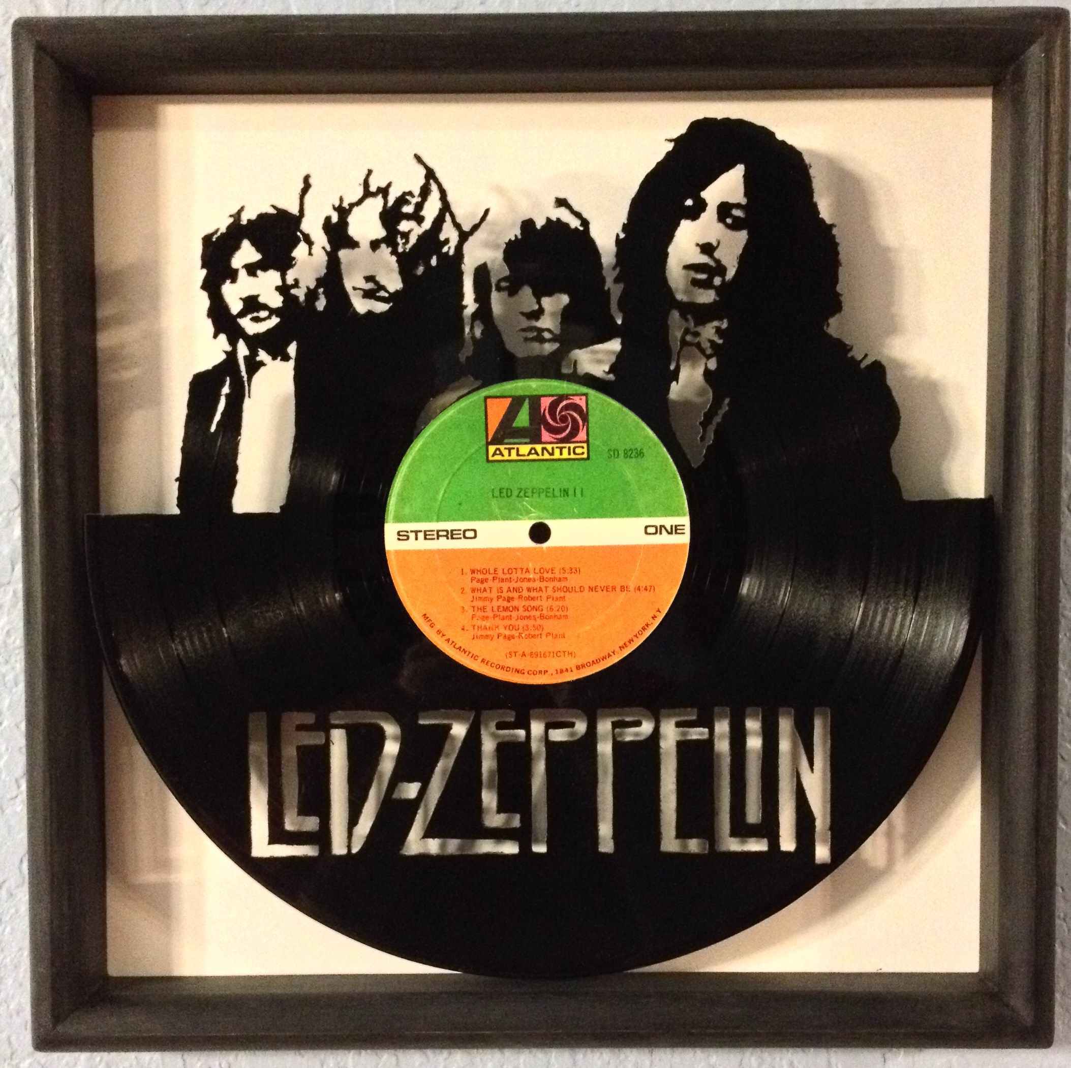 Led Zeppelin Quot Ii Quot Hand Cut Framed Vinyl Lp Record Art