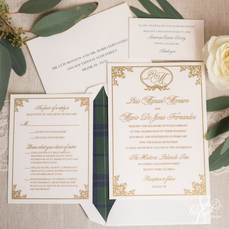 Gold Thermography Wedding Invitation