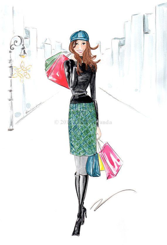 Gone Shopping By Joanamirandastudio Ilustraciones De Moda Moda Chic Mujer De Compras