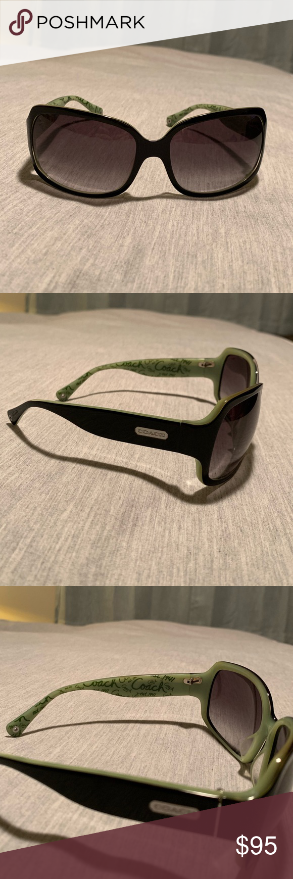 e10b151b646a 😎☀️Authentic Coach Black & Green Sunglasses Gorgeous square frame Authentic  Coach black sunglasses with