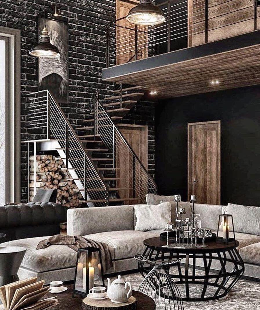 Idees d'escaliers et de portes pour une deco masculine avec un design industriel.