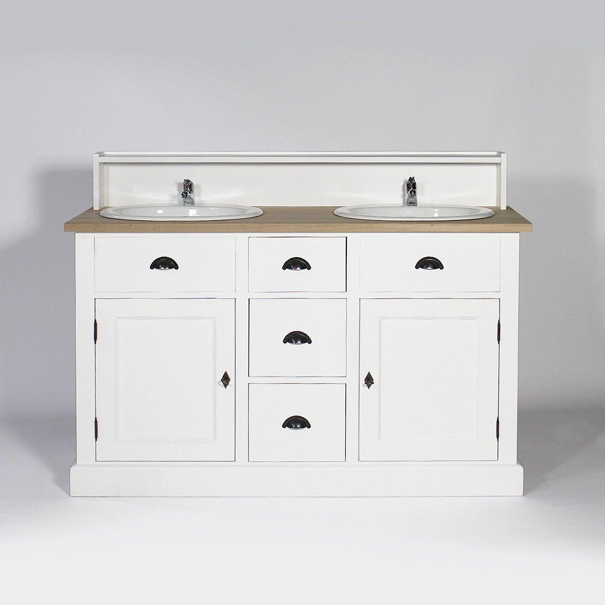 Meuble salle de bain bois massif 2 vasques 2 portes 3 tiroirs avec