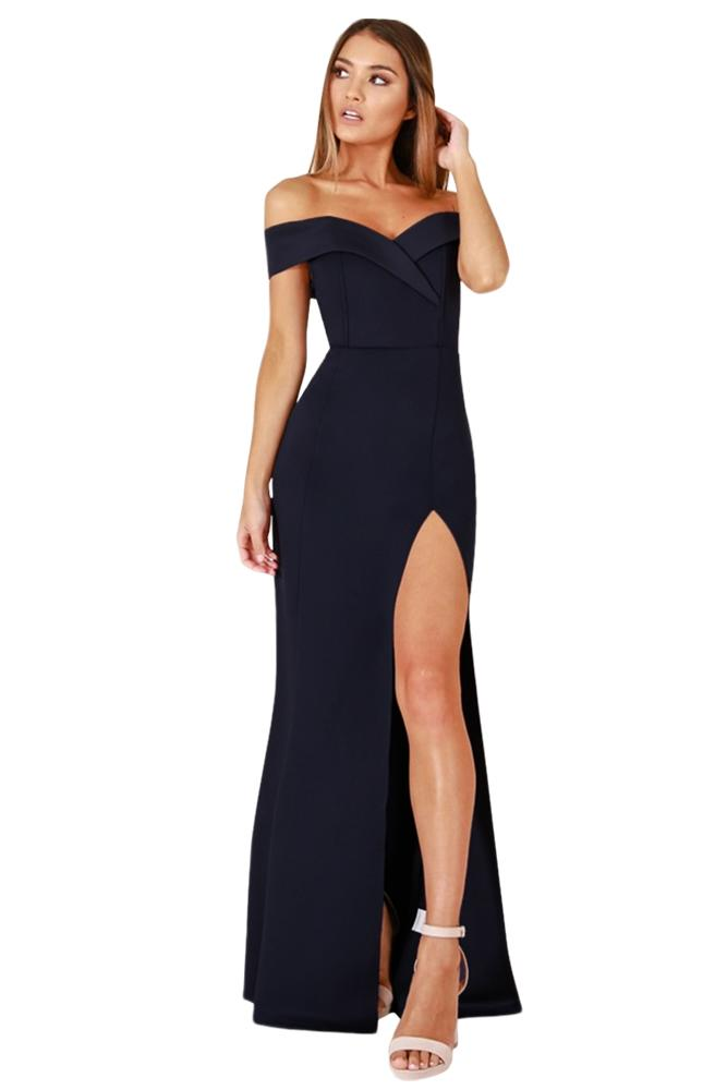 41163e04f7f55 Navy Blue Off Shoulder Sweetheart Neck Side Slit Evening Dress ...