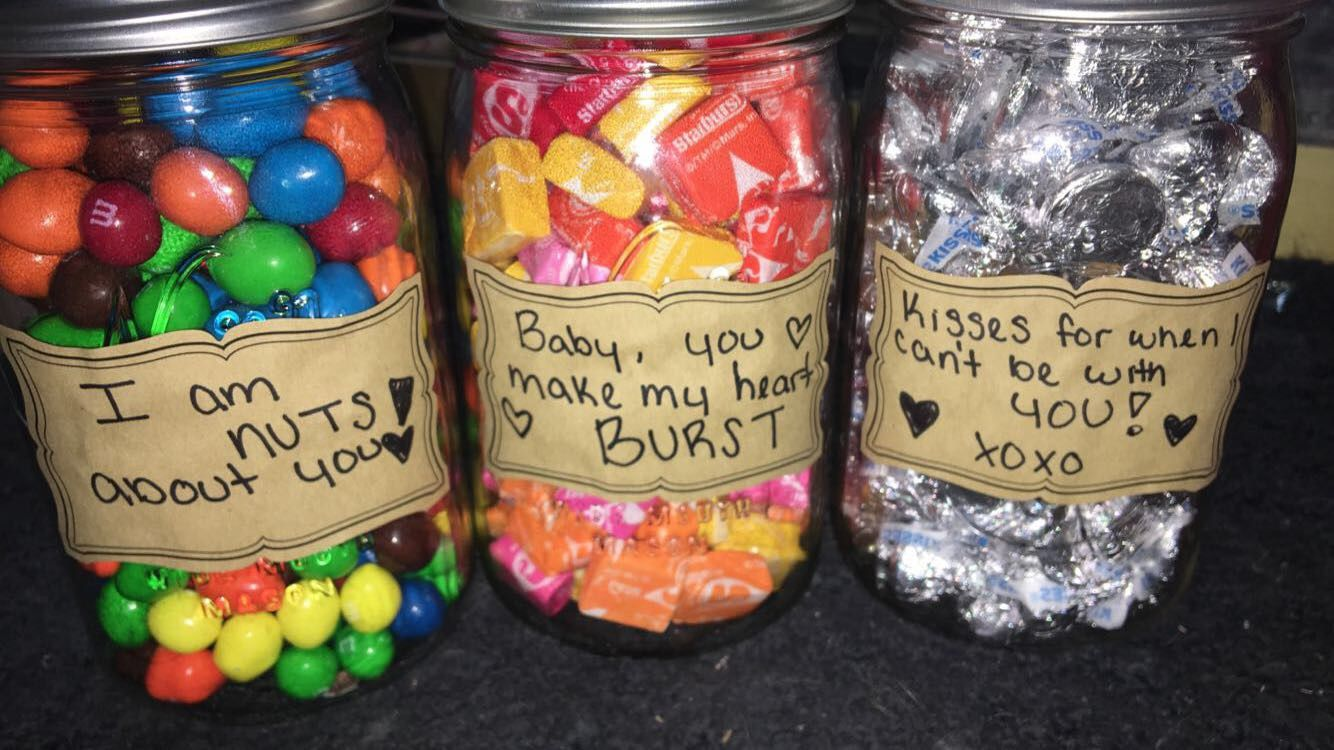 Crafty Cute Present For Boyfriend Or Girlfriend Fill Mason Jars With Candy