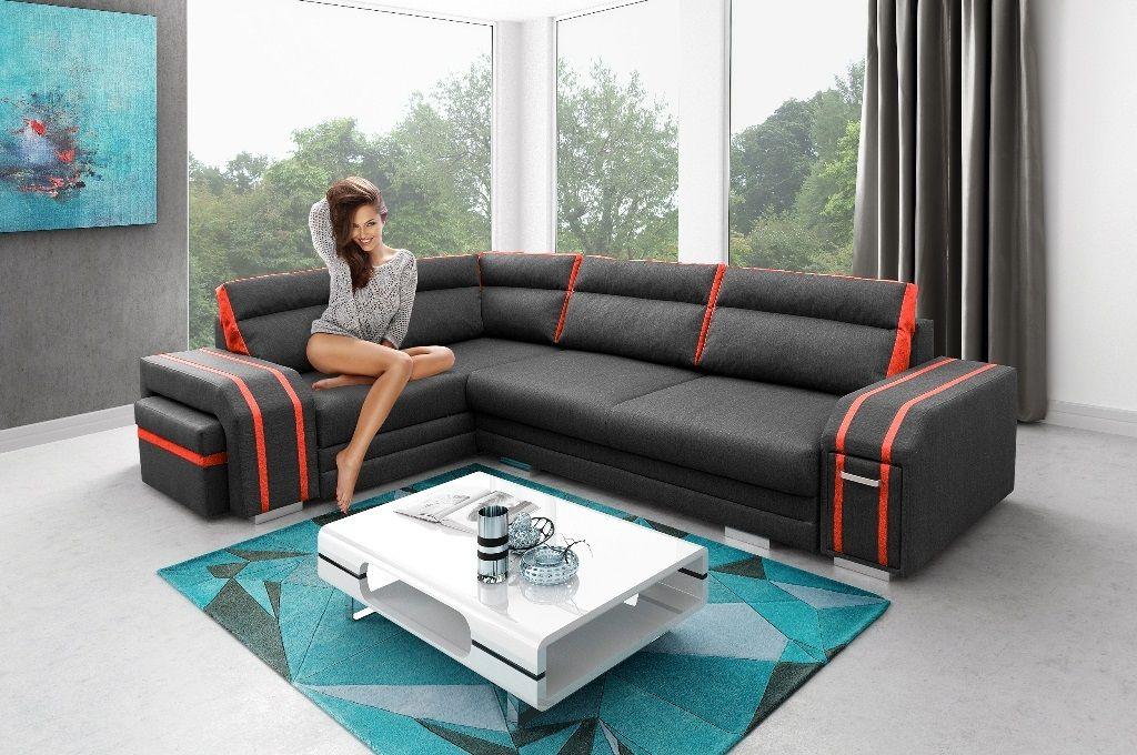 Gemütliches Ecksofa u0027GOLDu0027 Funktionssofa Polstersofa Sofa Couch