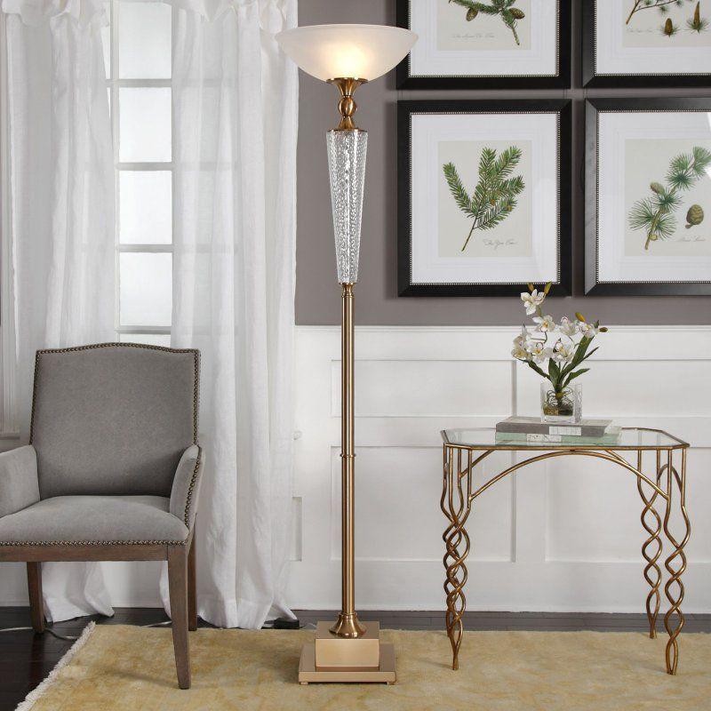 Uttermost Credera Brass Torchiere Floor Lamp 28146 1 Torchiere Floor Lamp