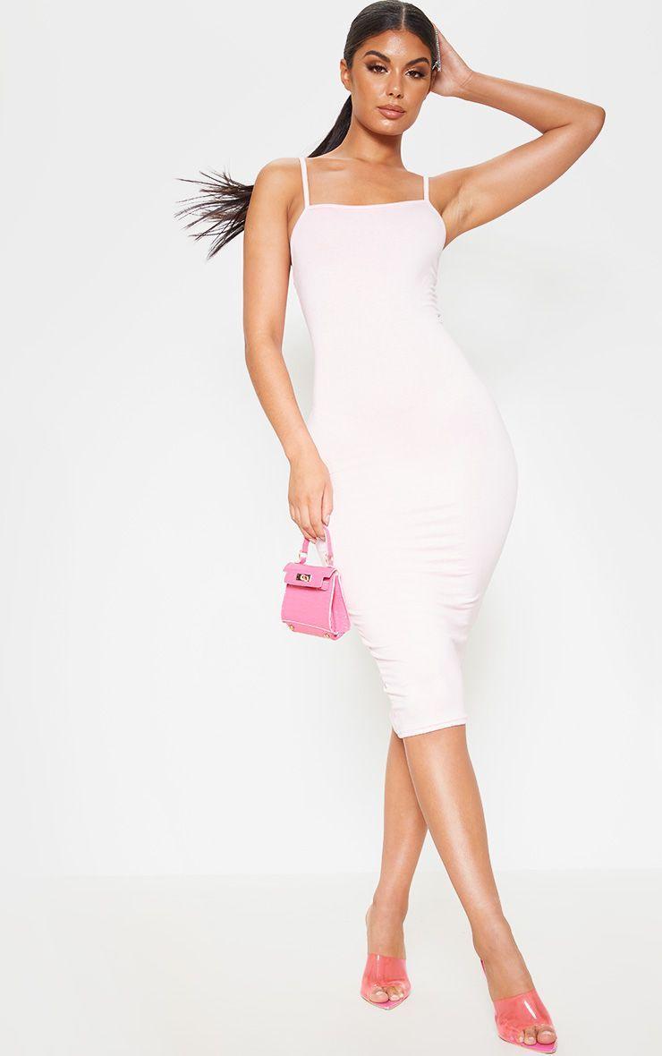 Baby Pink Strappy Midi Dress Strappy Midi Dress Dresses Pretty Girl Dresses [ 1180 x 740 Pixel ]