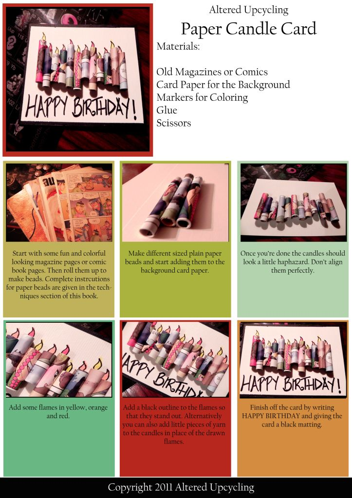 An Upcycled Paper Birthday Candles Card Candle Cards Cards