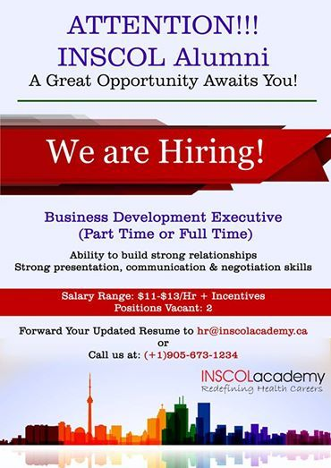 ATTENTION INSCOL ALumni - Inscol Academy Canada is NOW HIRING - hiring resume