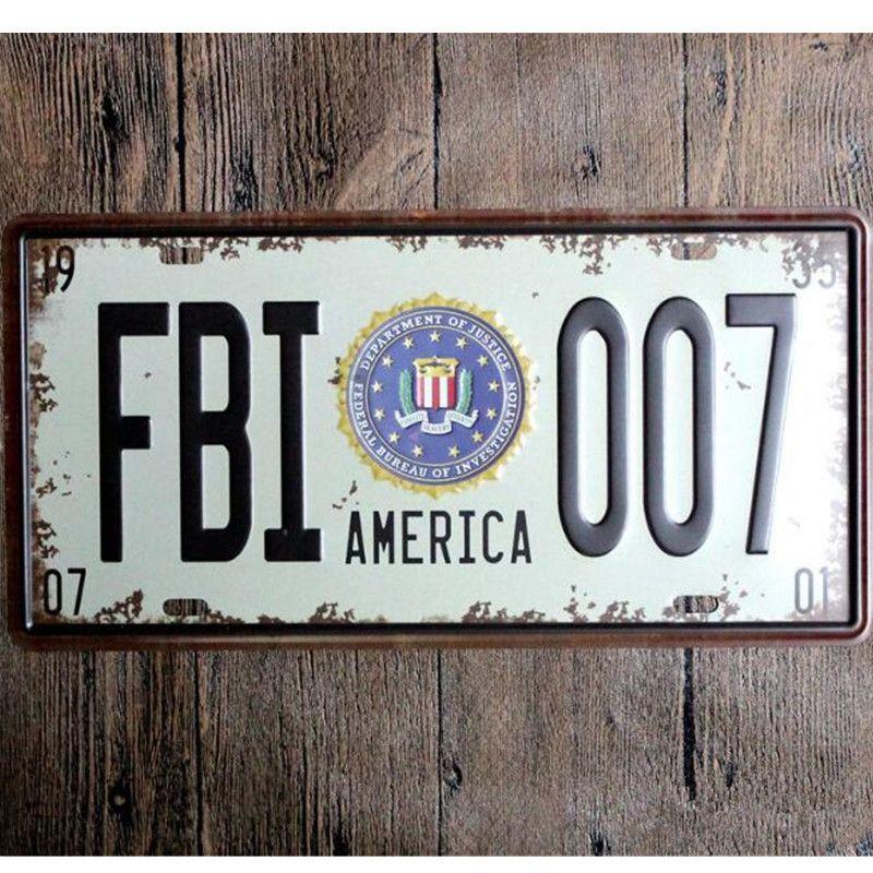 Metal Decorative Signs America Fbi 007 Car Metal License Plate Vintage Home Decor Tin