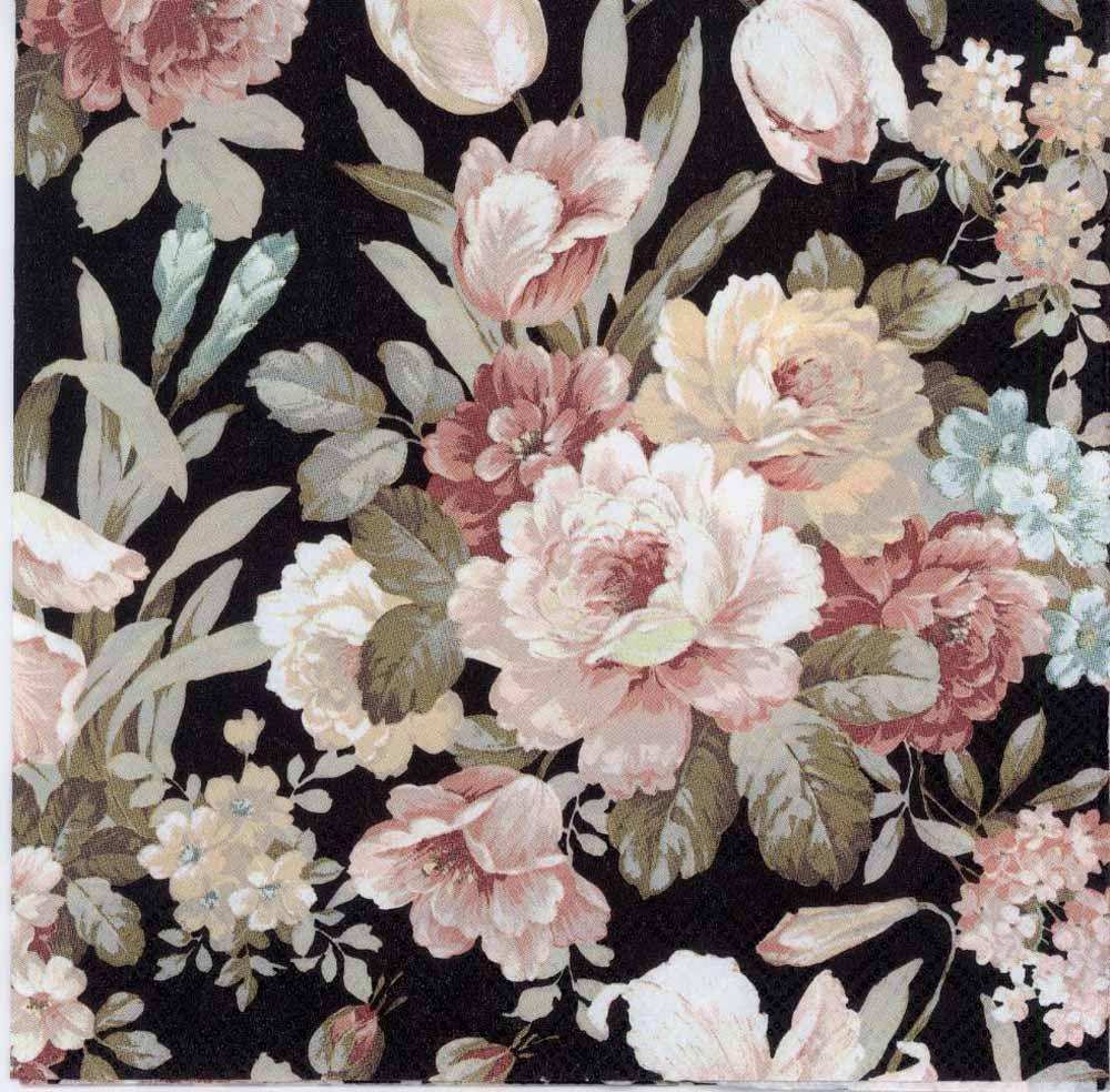 Decoupage Paper Napkins of a Romantic Rose Garden on Black   Chiarotino #papernapkins