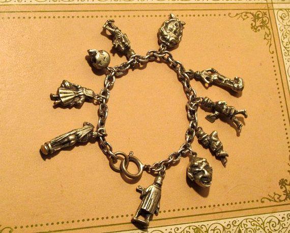 Alice in Wonderland Charm Bracelet Silver by modernmatters on Etsy