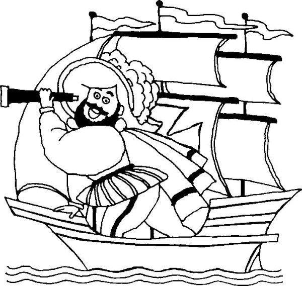 Happy Columbus Day Cartoon Coloring Page | figures coloring pages ...