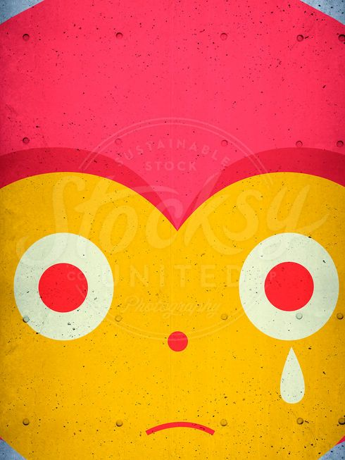Crying character on concrete wall by simonox | Stocksy United