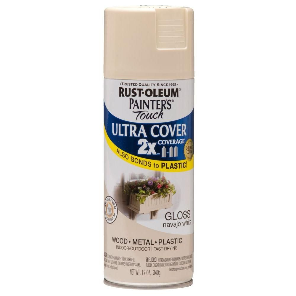Rust Oleum Painter S Touch 2x 12 Oz Gloss Navajo White General Purpose Spray Paint 249099 At The Home Depot